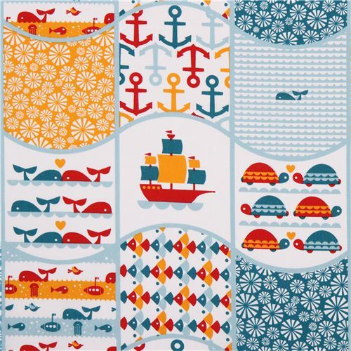 Patchwork sea whale anchor birch organic fabric Waves Patch