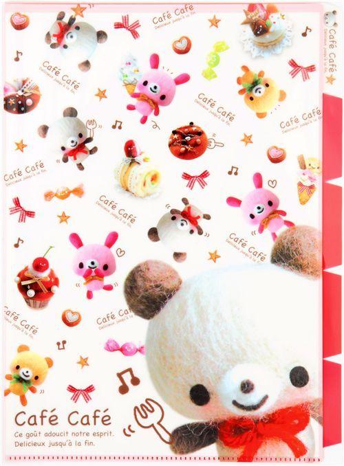 Cafe Cafe Bear A4 plastic file folder 5-pocket Kamio