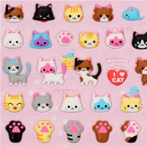 cute cats sponge sticker Q-Lia