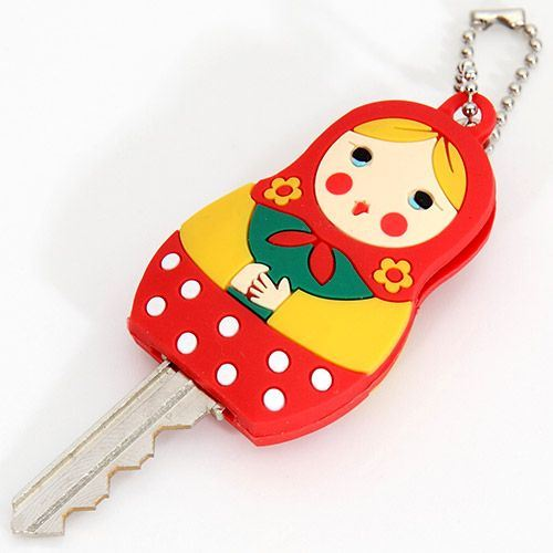 cute red matryoshka key cover charm