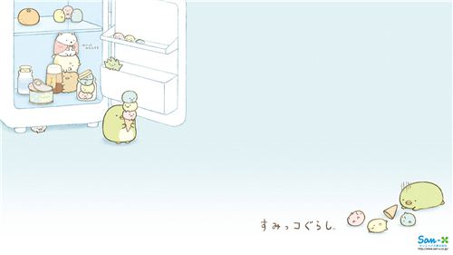 Ice cream on a hot summer day. On this Sumikkogurashi wallpaper by San-X it is all about the fridge