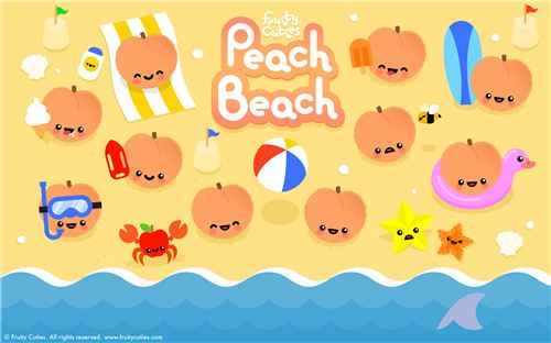 The fruity cuties peaches relax on the beach on this wallpaper