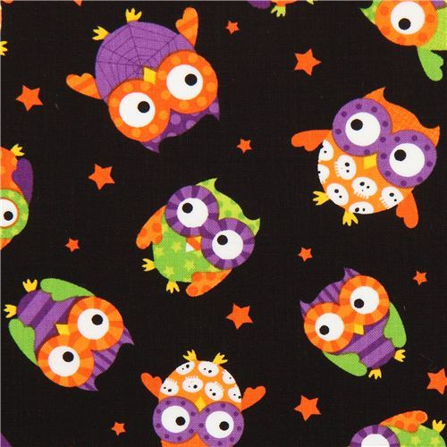 black Halloween owl fabric Timeless Treasures USA