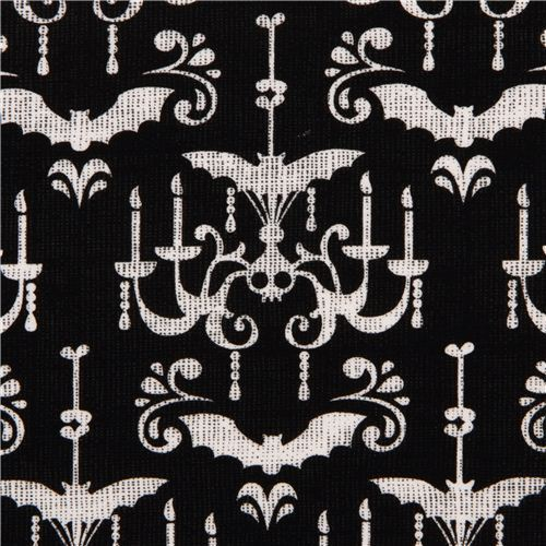 black Michael Miller Halloween fabric with chandelier