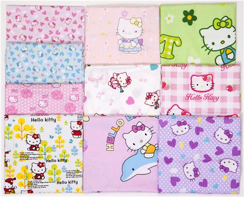 Win 10 Hello Kitty fabric fat quarters in our Facebook giveaway (photo for reference only)