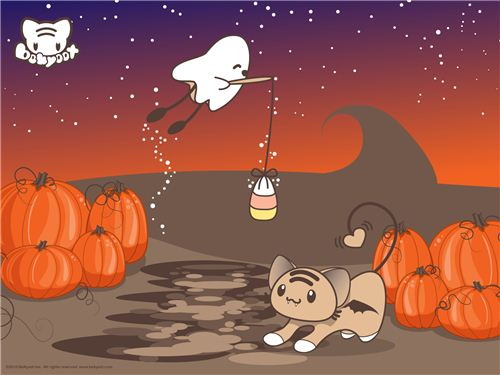 bekyoot cat with ghosts and pumkins