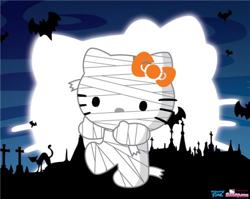 We found this cute Hello Kitty Halloween wallpaper on kawaiiwallpapers.com