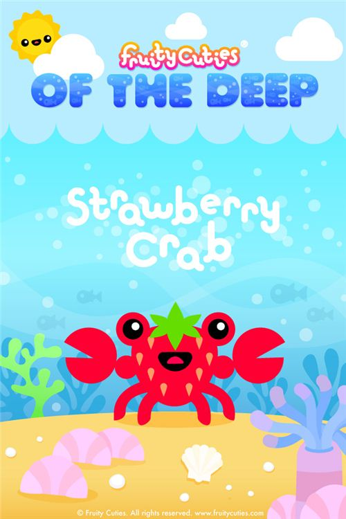 Strawberry Crab Fruity Cuties iPod and iPhone wallpaper
