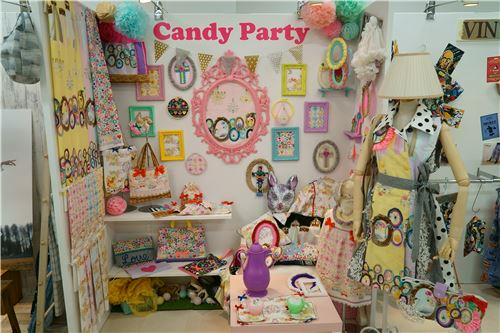 Items using fabrics from the Candy Party line