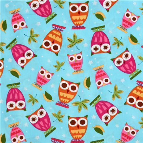 Light Blue Owls Fabric by Amy