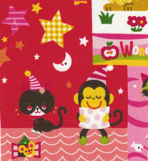 monkey with black kitty Japanese fabric
