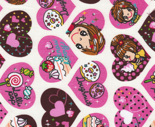 pink hearts with glitter girls Kokka fabric
