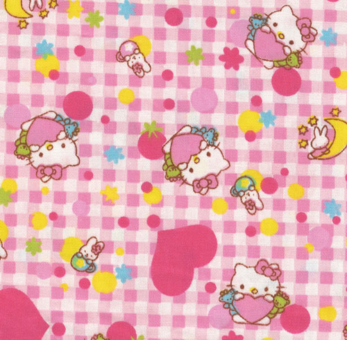 Hello Kitty checkered fabric