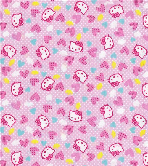 Hello Kitty fabric with many pink hearts