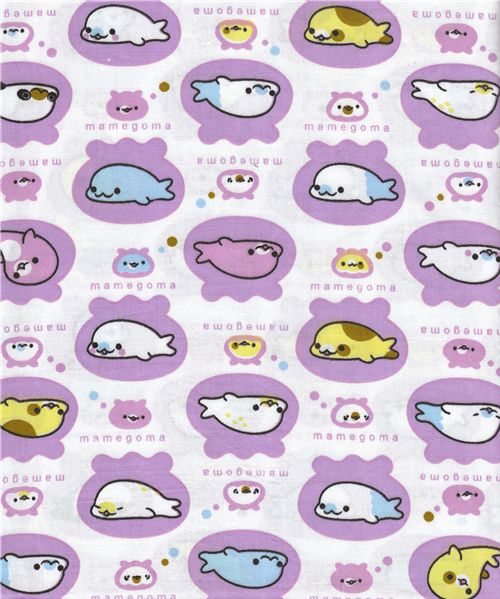 cute kawaii fabric with Mamegoma from San-X Japan