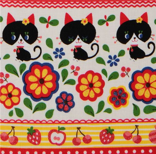 Kokka fabric black kitty